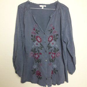 Sonoma Boho Button Blouse floral Embroidered XL